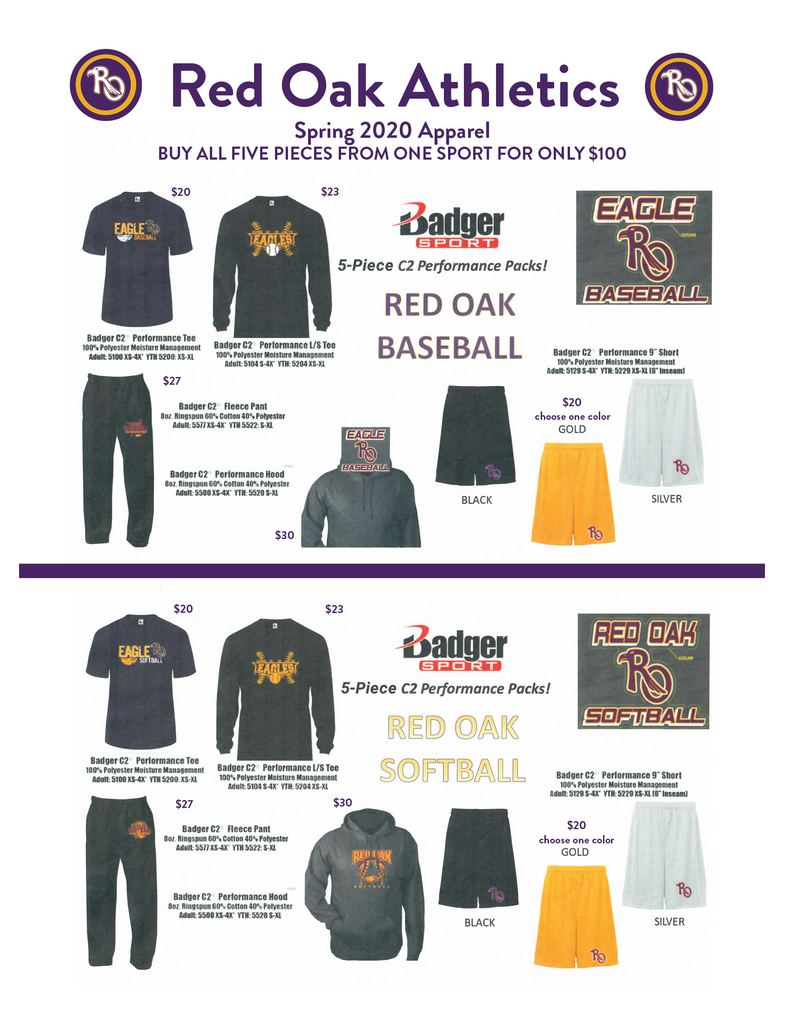 Red Oak Athletics Spring 2020 Apparel